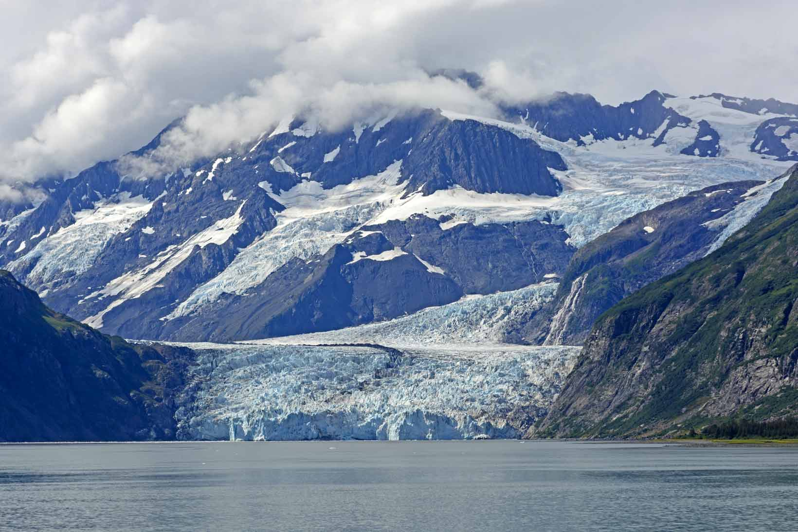 Surprise Glacier Coming out of the Mountains in Prince William Sound in Alaska