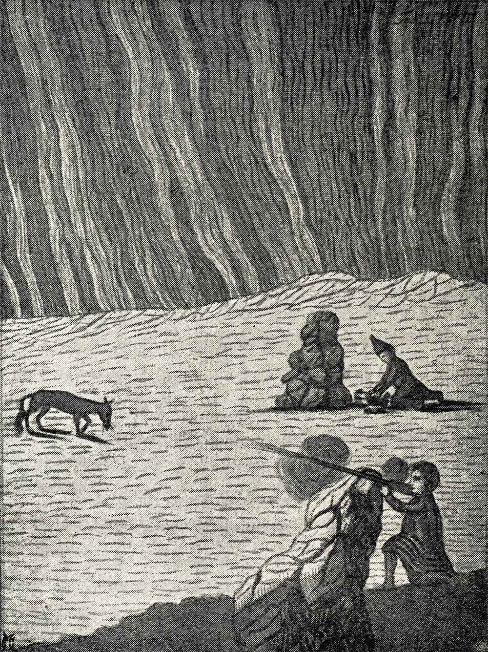 Facsimile of an old drawing of Lapps hunting by the Aurora Borealis