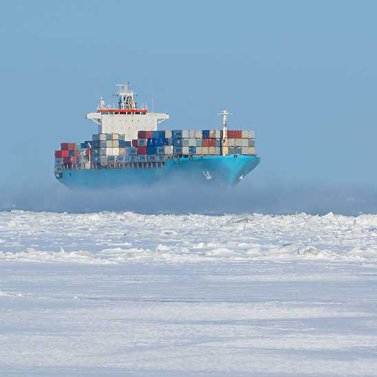 Container ship in icy water