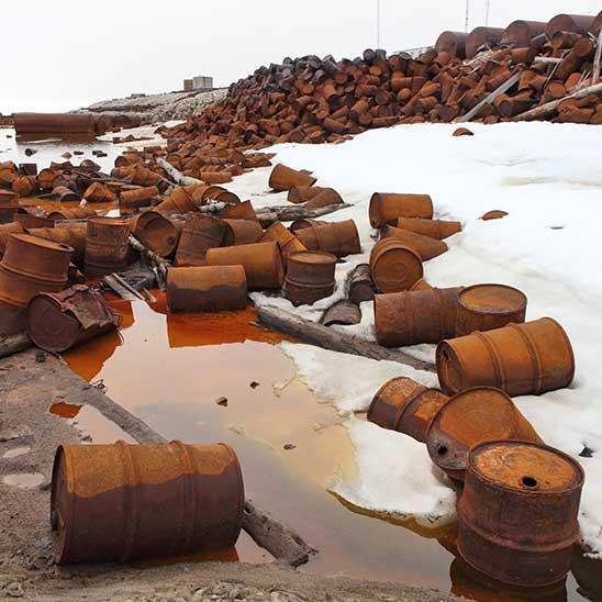 Rusty barrels and ice