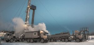 Drilling rig and lorries