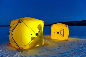 Ice fishing in tents