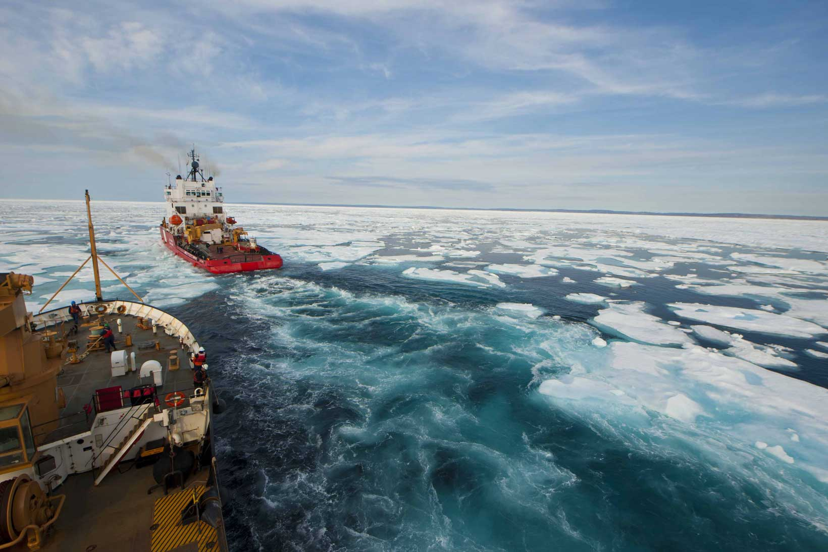 Breaking ice in the Franklin Strait, Nunavut, Northern Canada