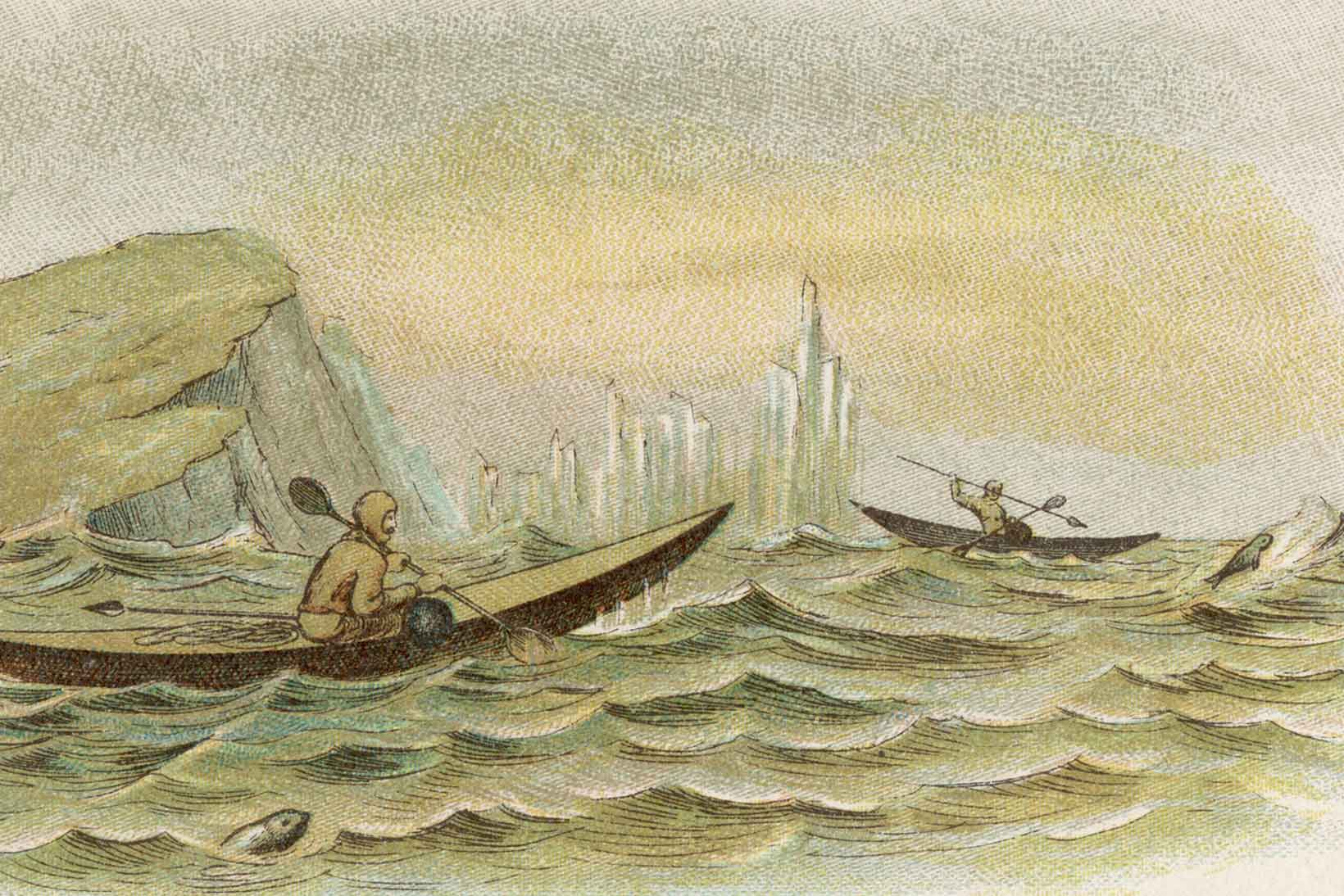 Old etching of an Inuit canoe hunt