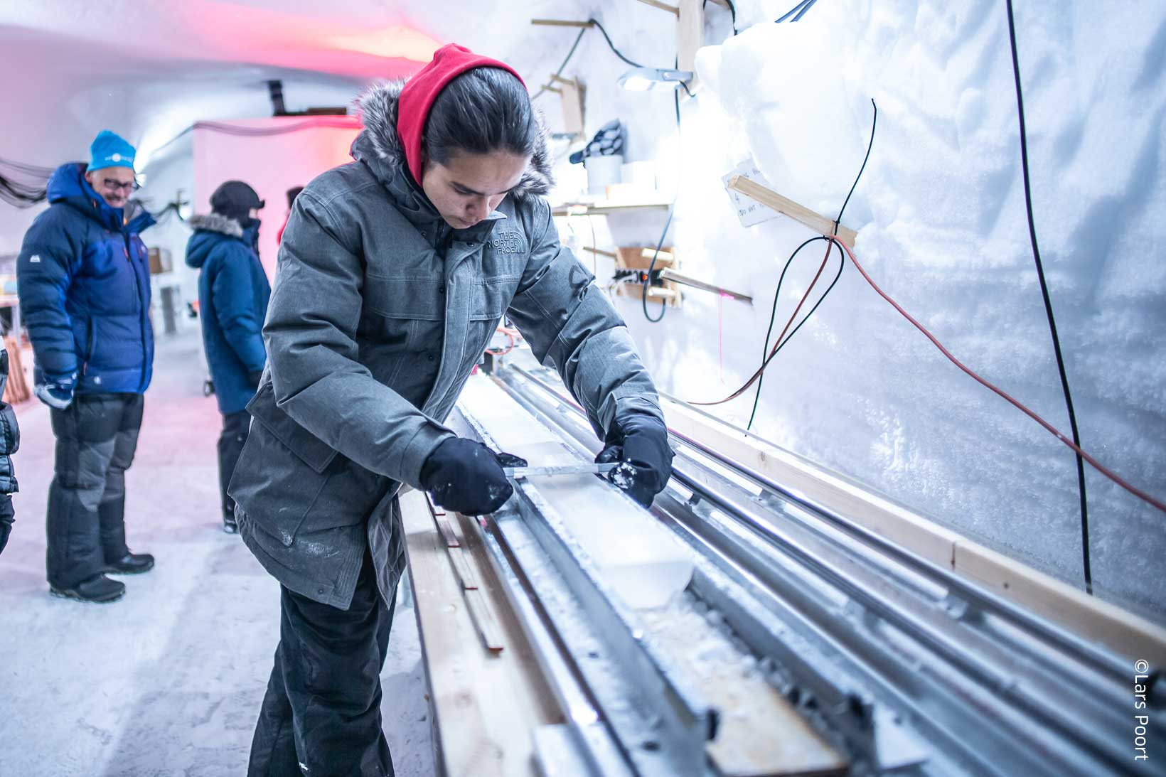 A Greenlandic High School student at EastGrip taking initial measurements of a 12000 year old ice core